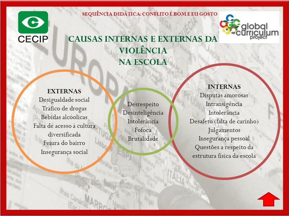 CAUSAS INTERNAS E EXTERNAS DA VIOLÊNCIA NA ESCOLA