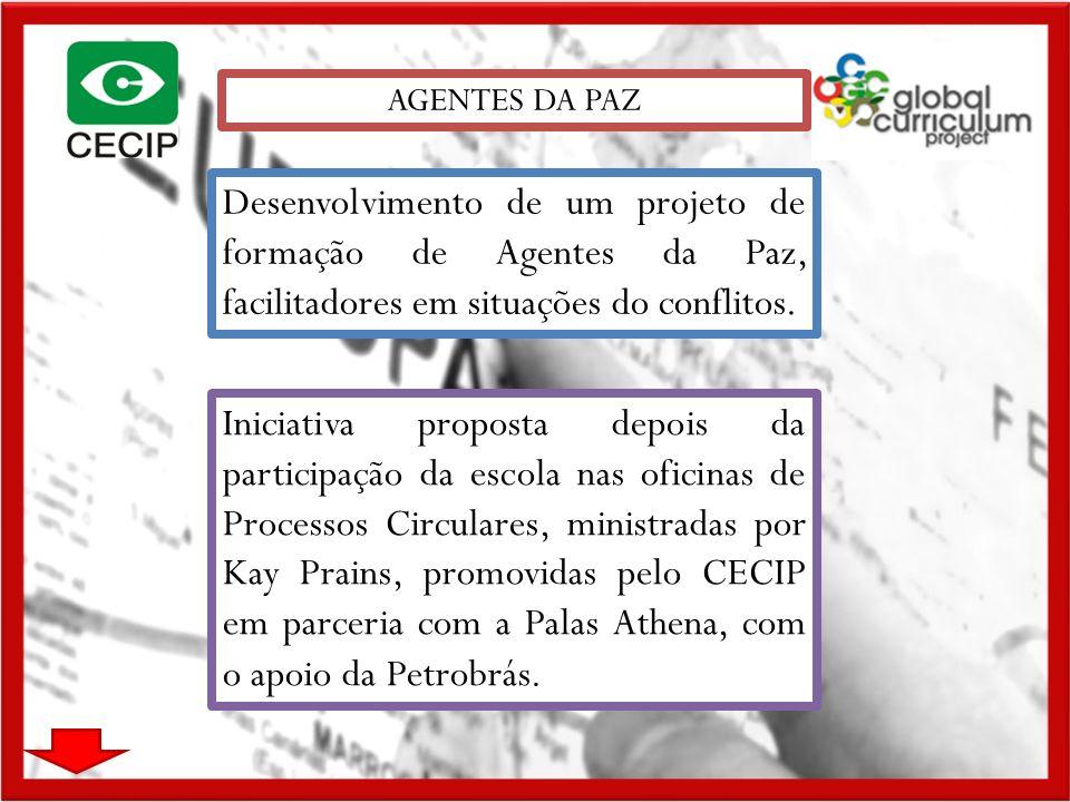 AGENTES DA PAZ Desenvolvimento de um projeto de formação de Agentes da Paz, facilitadores em situações do conflitos.