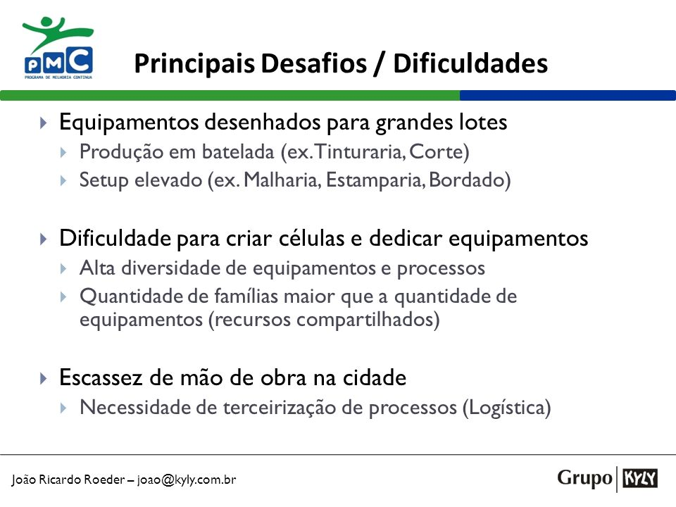 Principais Desafios / Dificuldades
