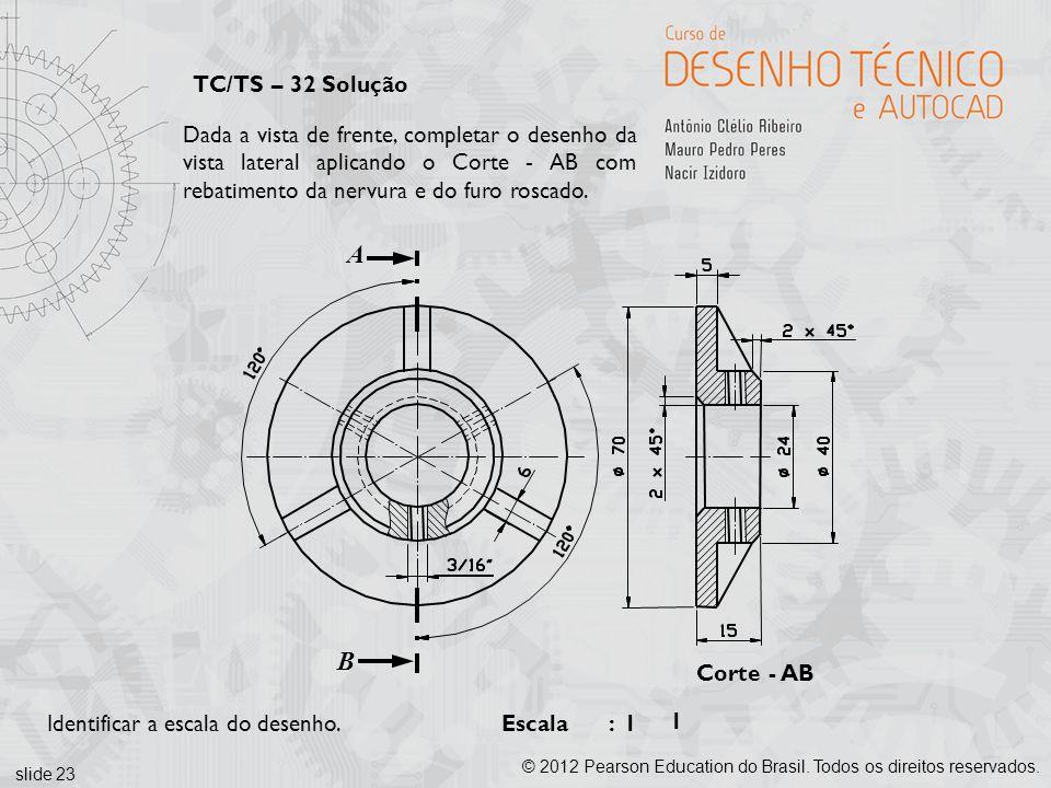 TC/TS – 32 Solução Dada a vista de frente, completar o desenho da vista lateral aplicando o Corte - AB com rebatimento da nervura e do furo roscado.