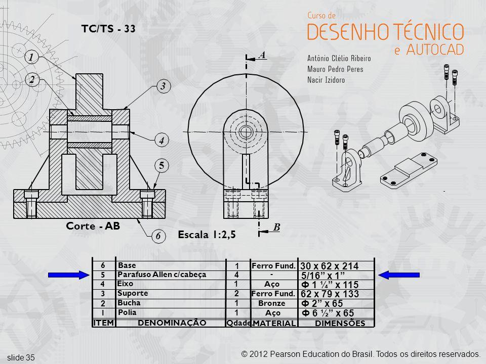 TC/TS - 33 A 1 2 3 4 5 Corte - AB B 6 Escala 1:2,5 30 x 62 x 214