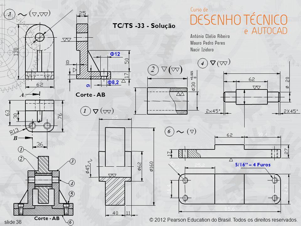 ( ( 2 ( ( ( ( TC/TS -33 - Solução Corte - AB A 3 , B 4 1 6 Ф12 Ф8,2 9