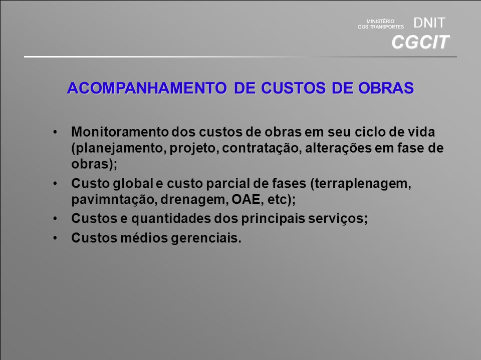 ACOMPANHAMENTO DE CUSTOS DE OBRAS