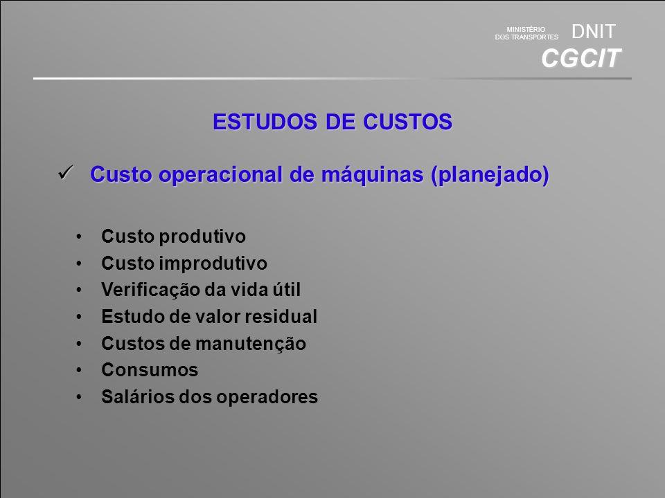 Custo operacional de máquinas (planejado)
