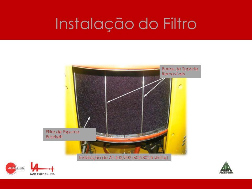 Instalação do Filtro Barras de Suporte Removíveis