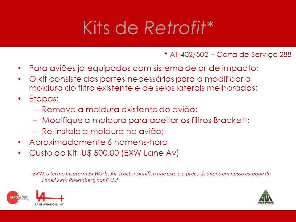 Kits de Retrofit* * AT-402/502 – Carta de Serviço 288. Para aviões já equipados com sistema de ar de impacto;