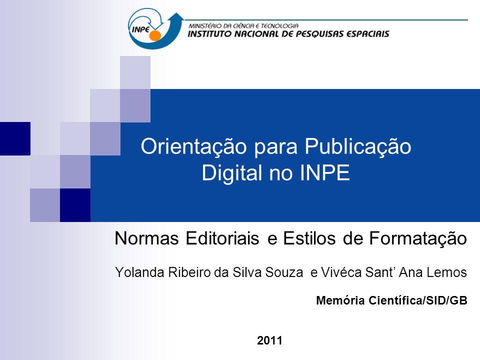 Orientação para Publicação Digital no INPE