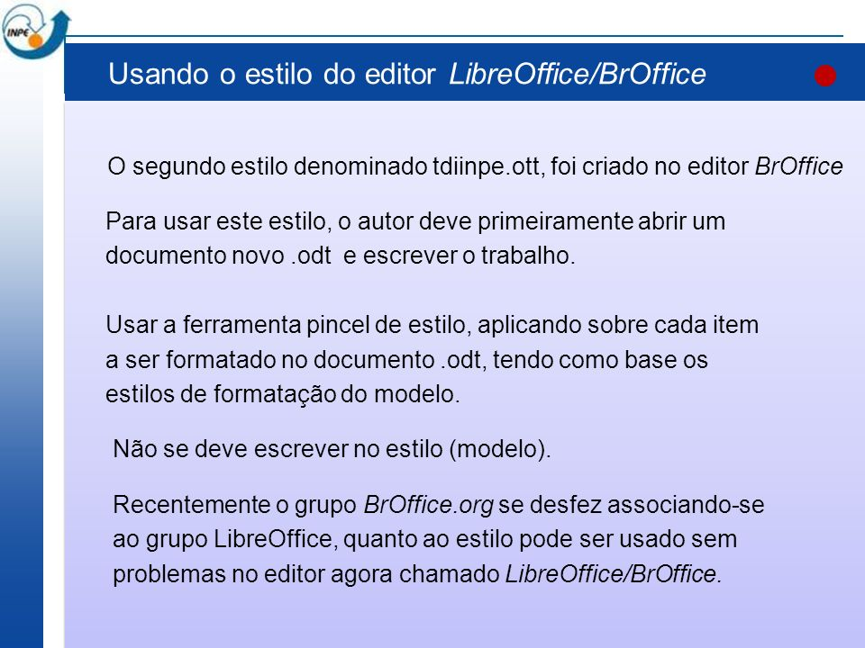 Usando o estilo do editor LibreOffice/BrOffice