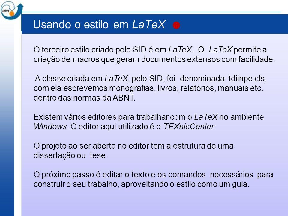 Usando o estilo em LaTeX