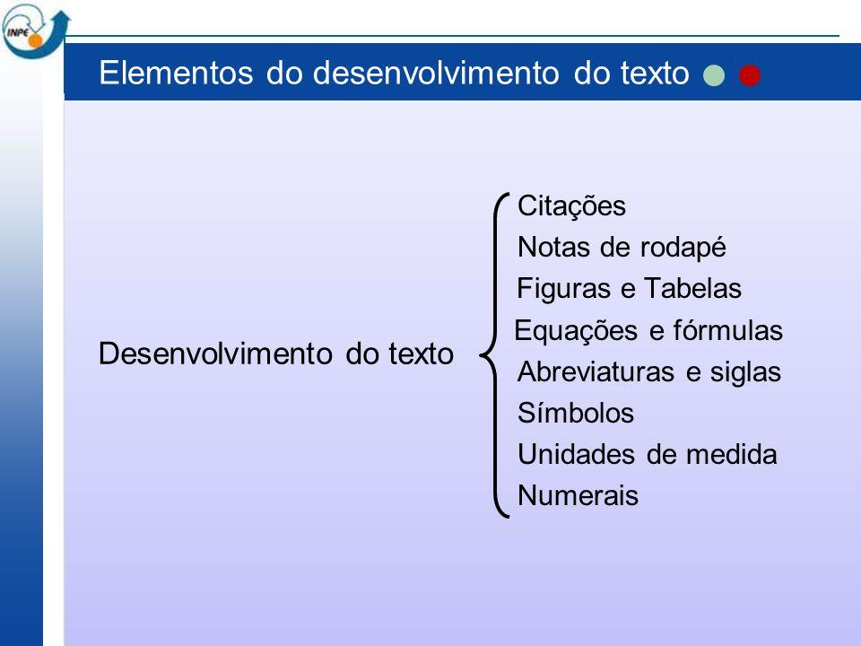 Elementos do desenvolvimento do texto