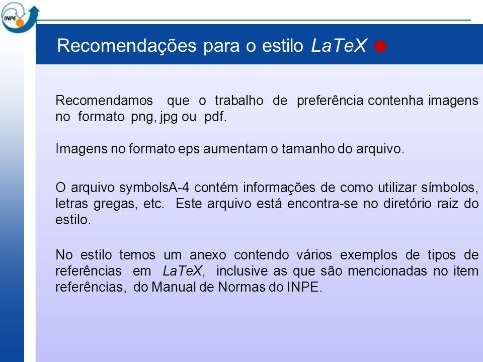 Recomendações para o estilo LaTeX
