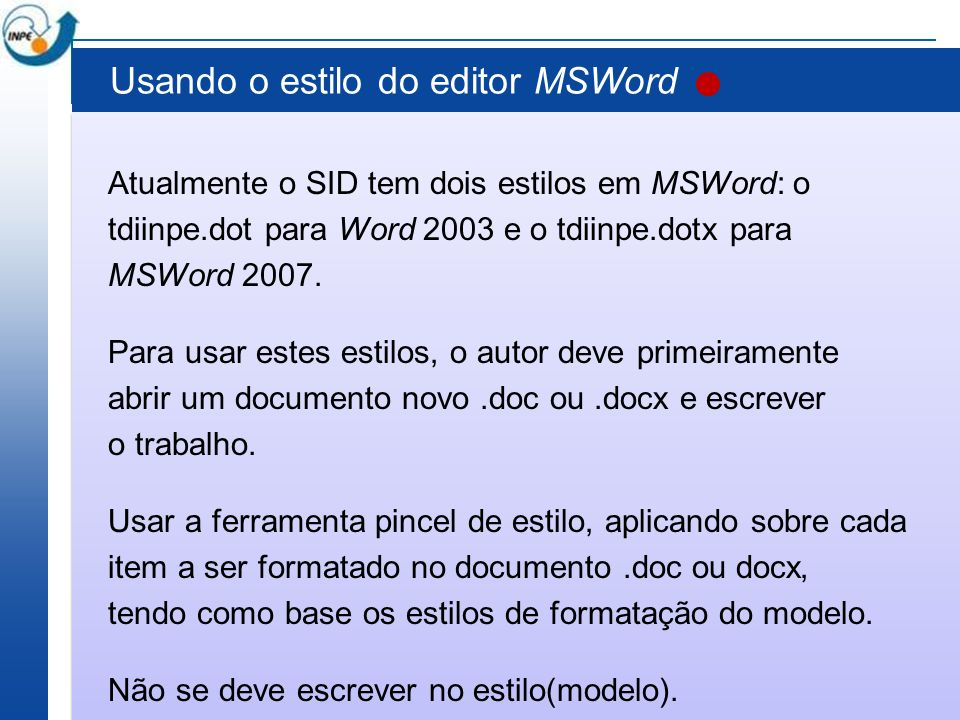 Usando o estilo do editor MSWord