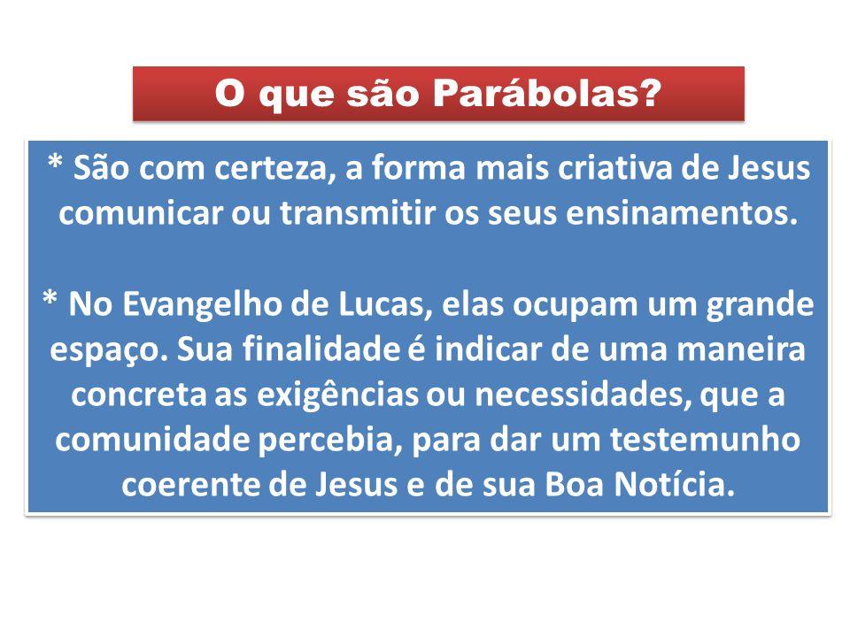 O que são Parábolas * São com certeza, a forma mais criativa de Jesus comunicar ou transmitir os seus ensinamentos.