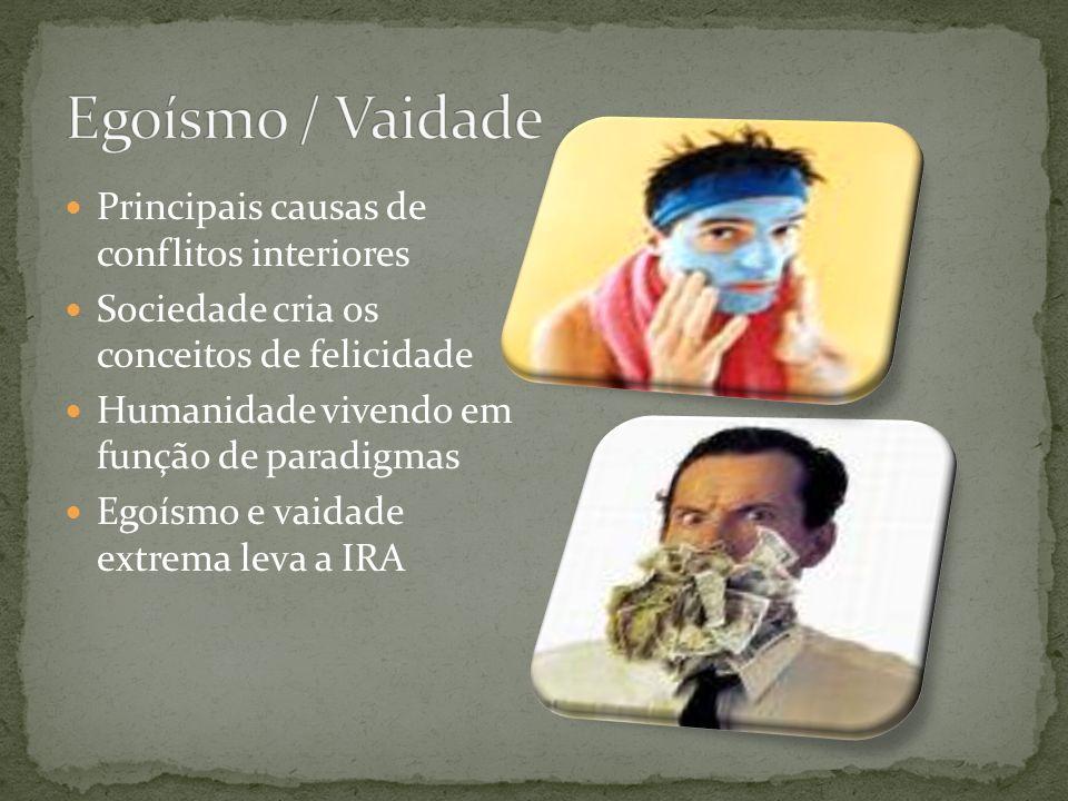 Egoísmo / Vaidade Principais causas de conflitos interiores