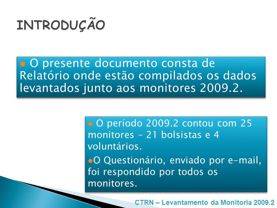 INTRODUÇÃO O presente documento consta de Relatório onde estão compilados os dados levantados junto aos monitores 2009.2.