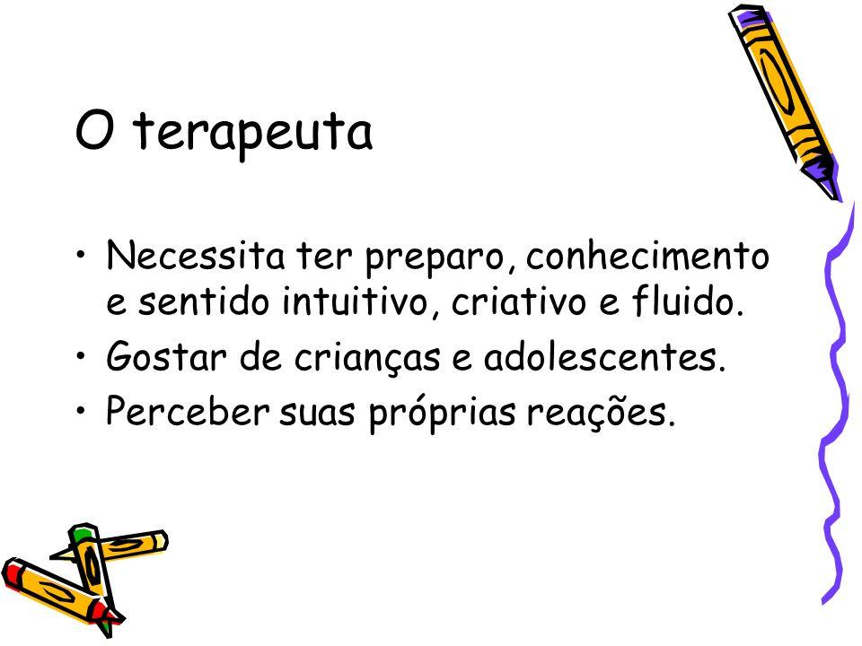 O terapeuta Necessita ter preparo, conhecimento e sentido intuitivo, criativo e fluido. Gostar de crianças e adolescentes.