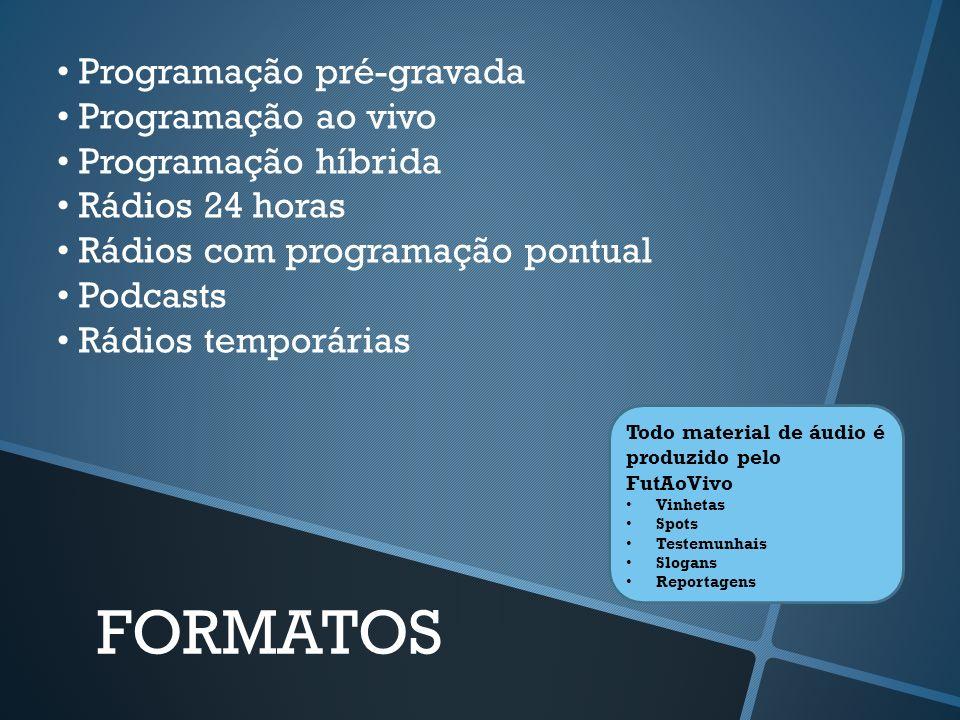 FORMATOS • Programação pré-gravada • Programação ao vivo
