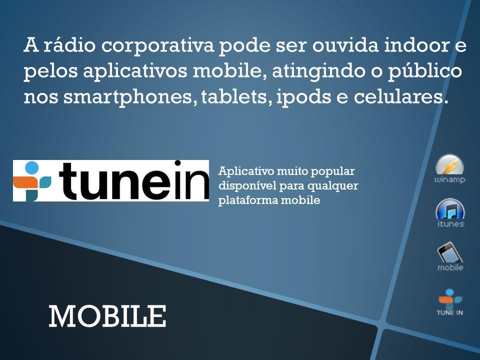 A rádio corporativa pode ser ouvida indoor e pelos aplicativos mobile, atingindo o público nos smartphones, tablets, ipods e celulares.