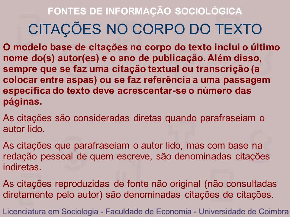 CITAÇÕES NO CORPO DO TEXTO
