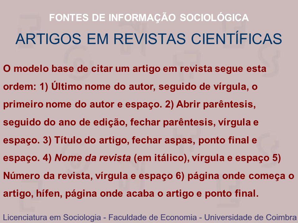 ARTIGOS EM REVISTAS CIENTÍFICAS