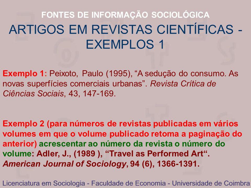 ARTIGOS EM REVISTAS CIENTÍFICAS - EXEMPLOS 1