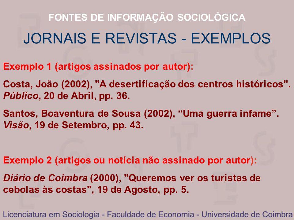 JORNAIS E REVISTAS - EXEMPLOS