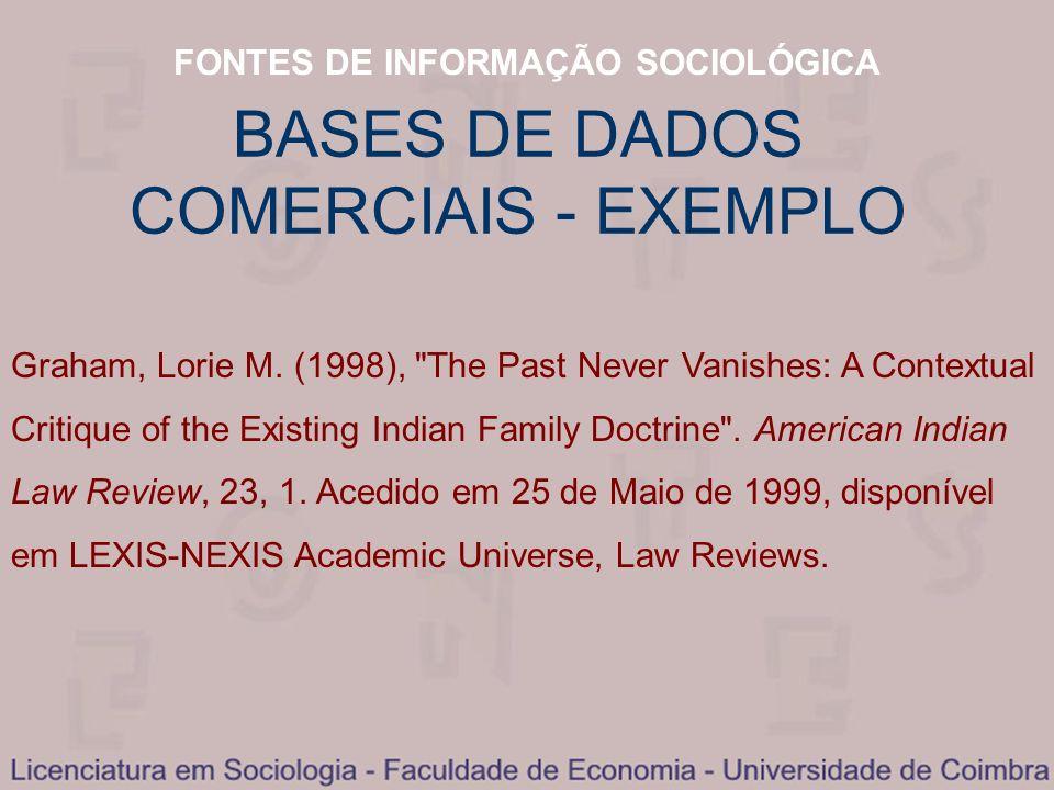 BASES DE DADOS COMERCIAIS - EXEMPLO