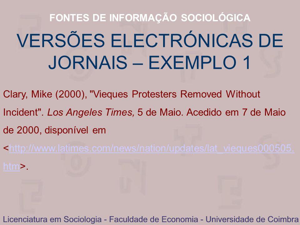 VERSÕES ELECTRÓNICAS DE JORNAIS – EXEMPLO 1
