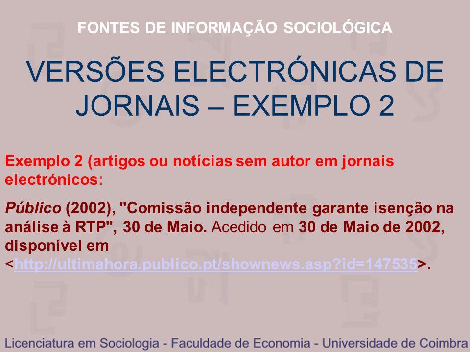 VERSÕES ELECTRÓNICAS DE JORNAIS – EXEMPLO 2