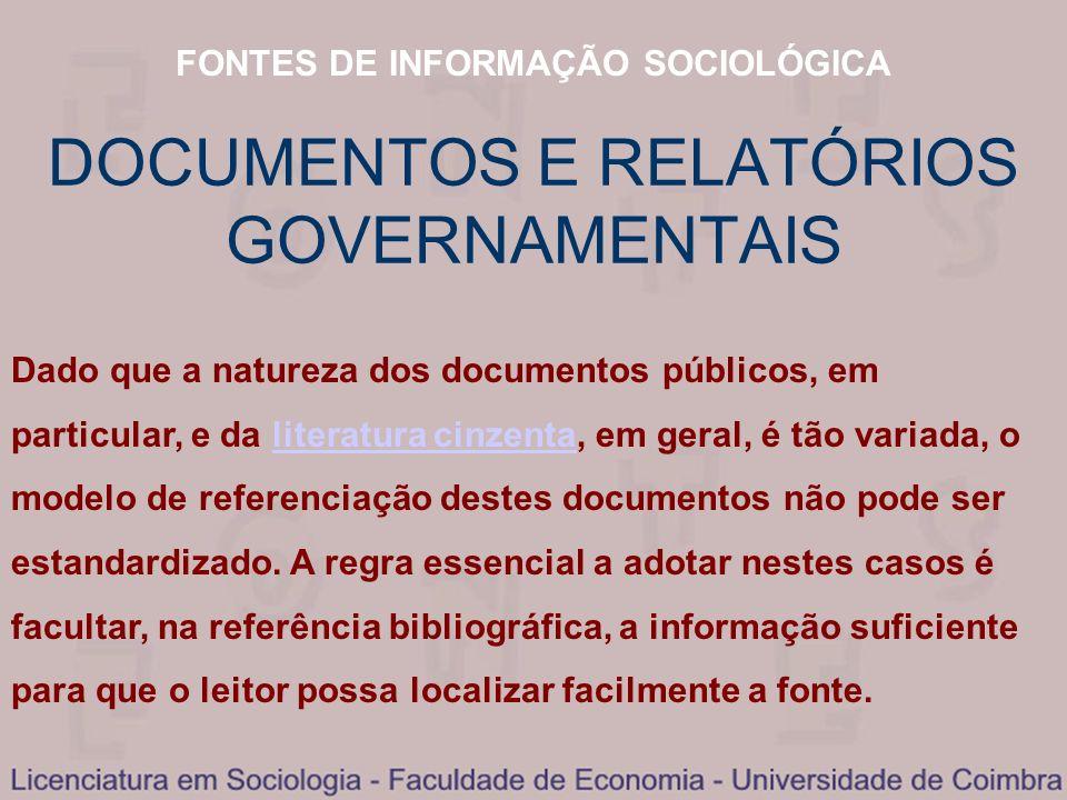 DOCUMENTOS E RELATÓRIOS GOVERNAMENTAIS