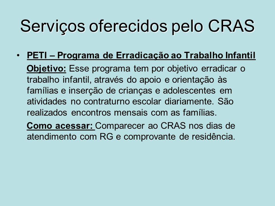 Serviços oferecidos pelo CRAS