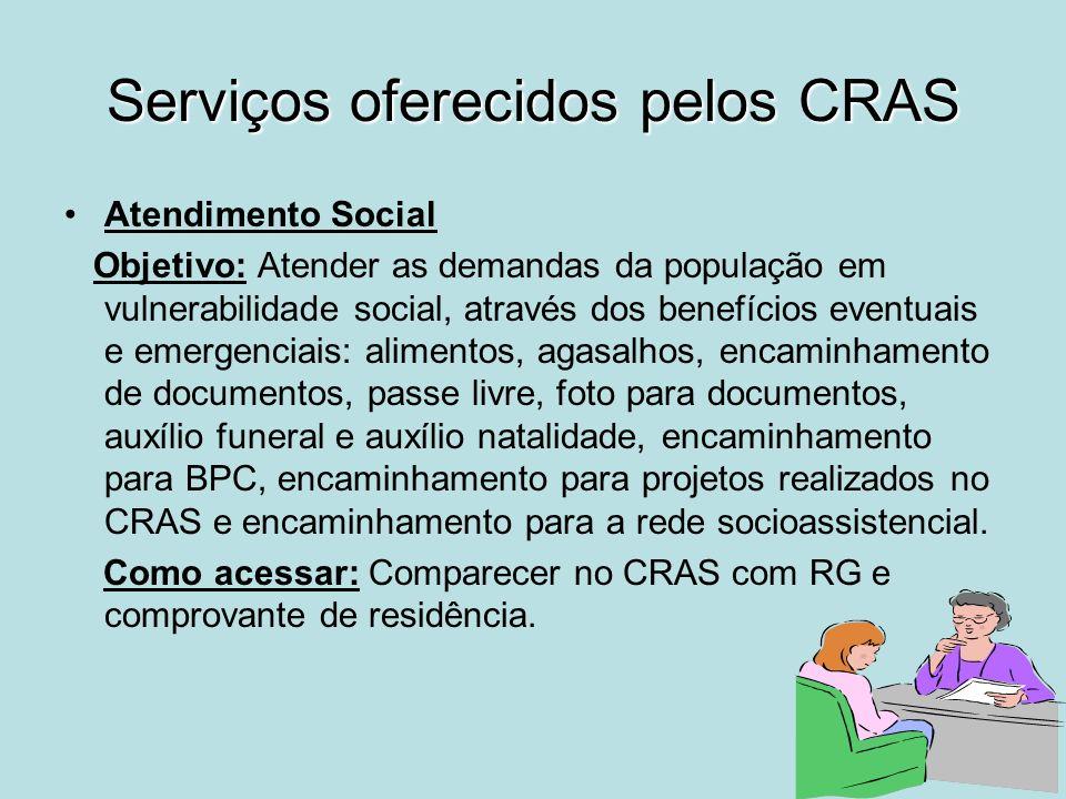 Serviços oferecidos pelos CRAS