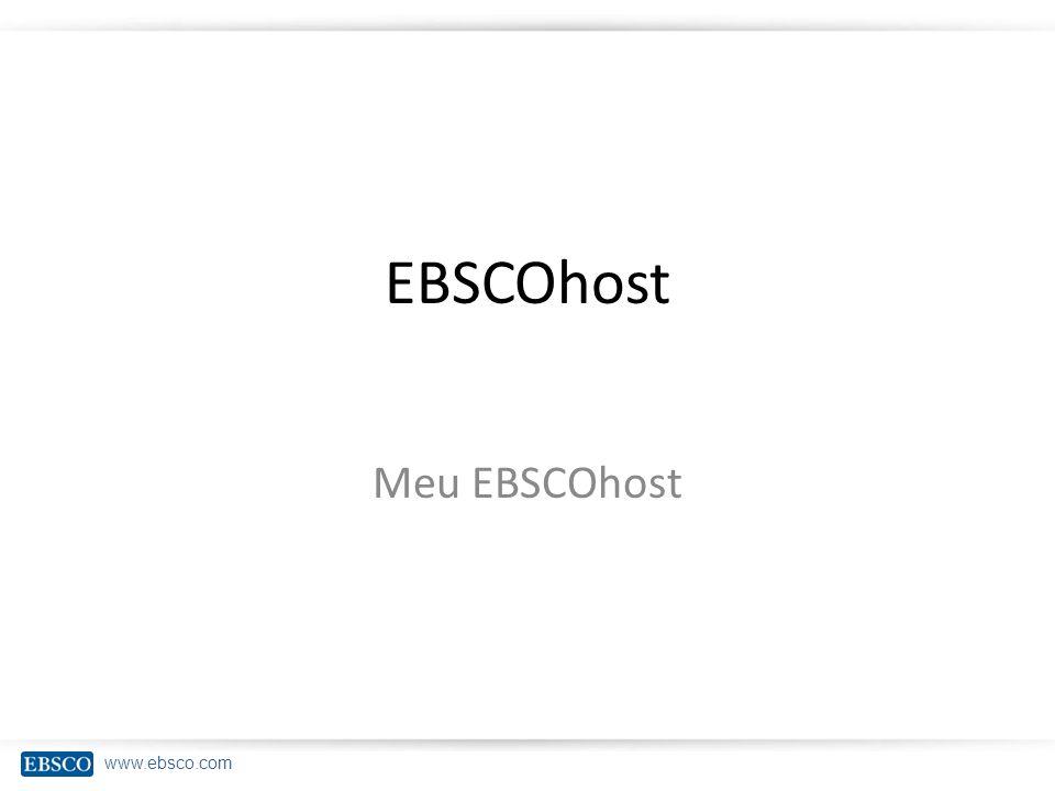 EBSCOhost Meu EBSCOhost