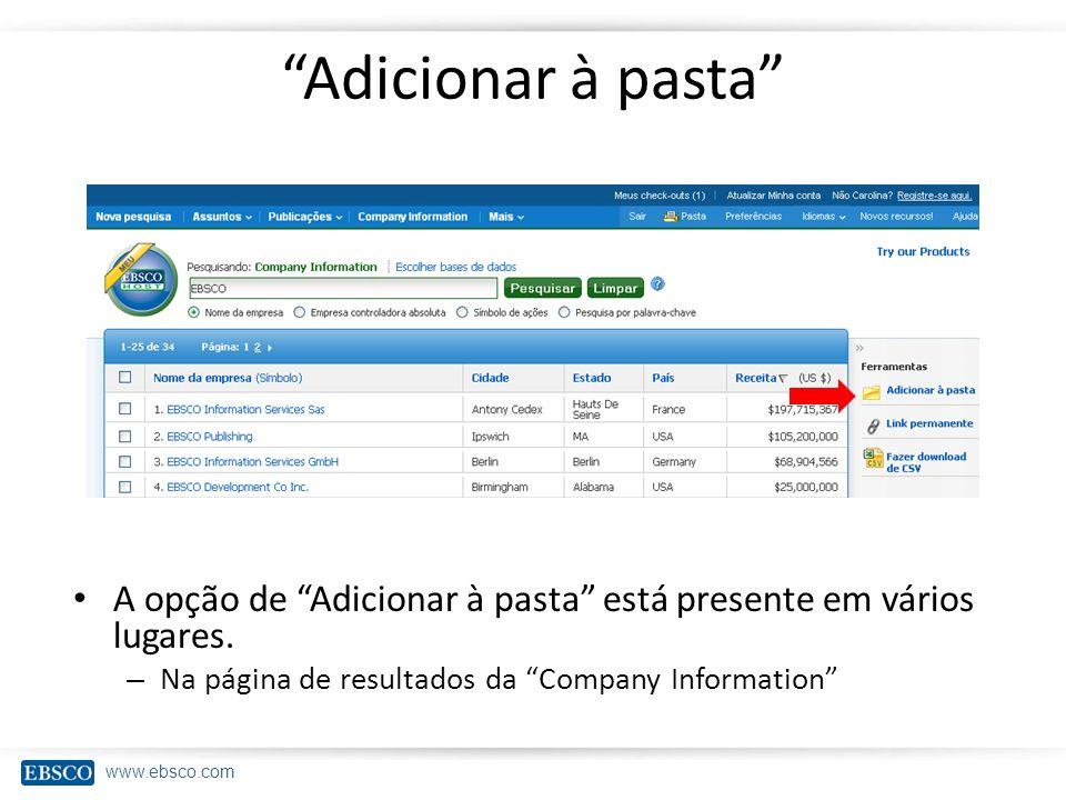 Adicionar à pasta A opção de Adicionar à pasta está presente em vários lugares.