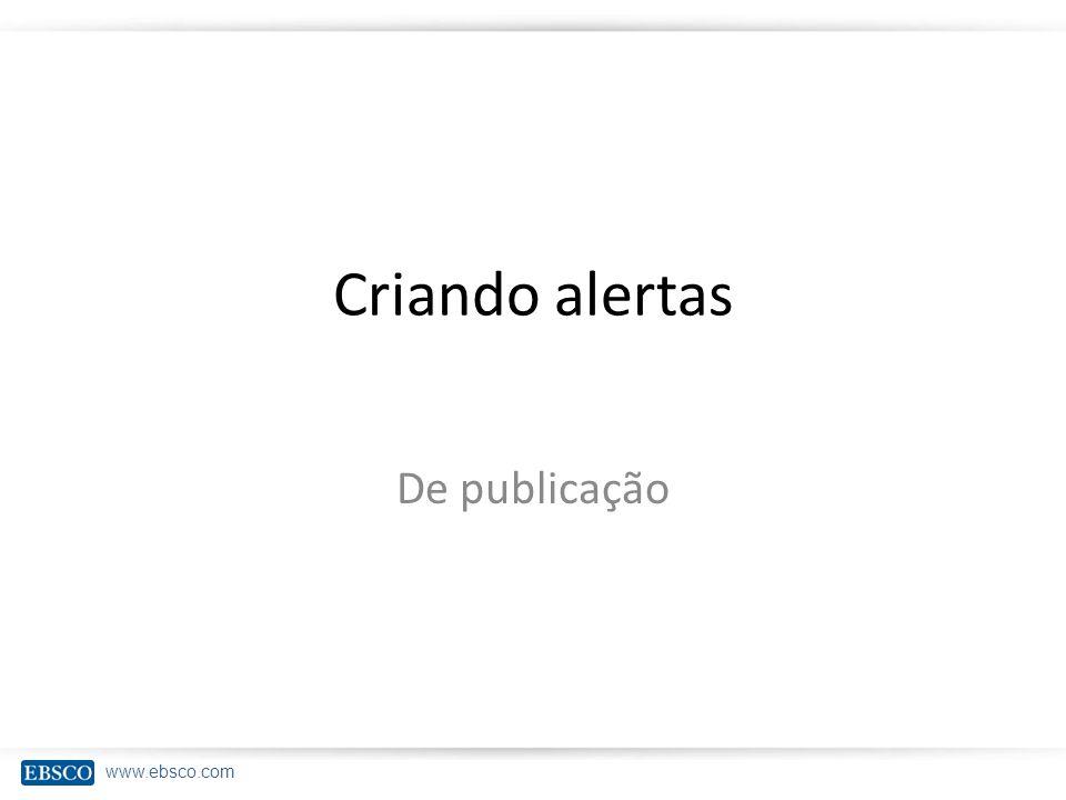 Criando alertas De publicação