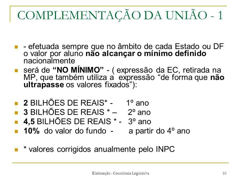COMPLEMENTAÇÃO DA UNIÃO - 1