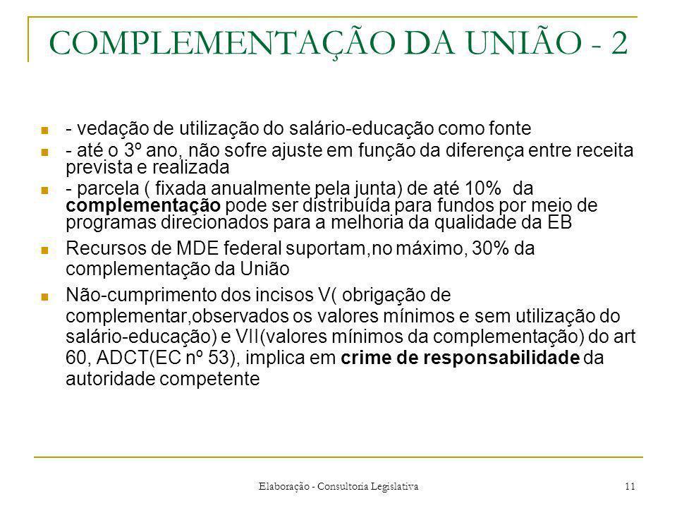 COMPLEMENTAÇÃO DA UNIÃO - 2
