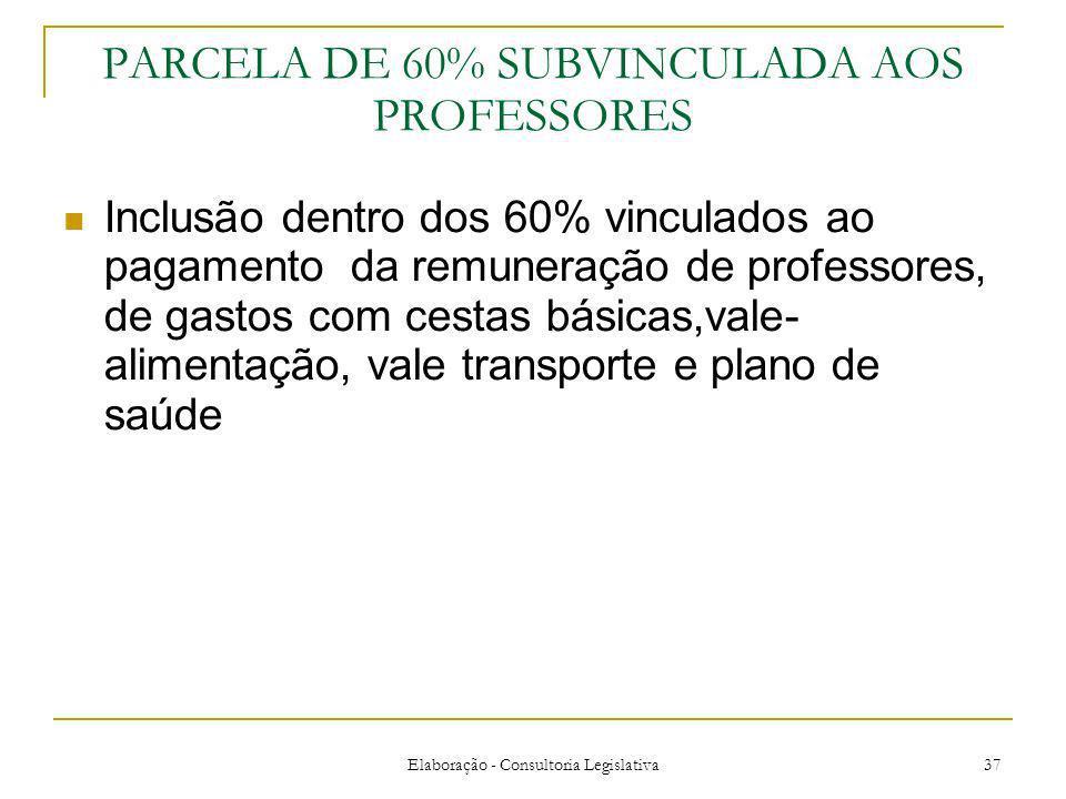 PARCELA DE 60% SUBVINCULADA AOS PROFESSORES