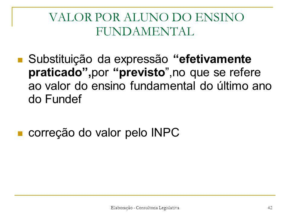 VALOR POR ALUNO DO ENSINO FUNDAMENTAL