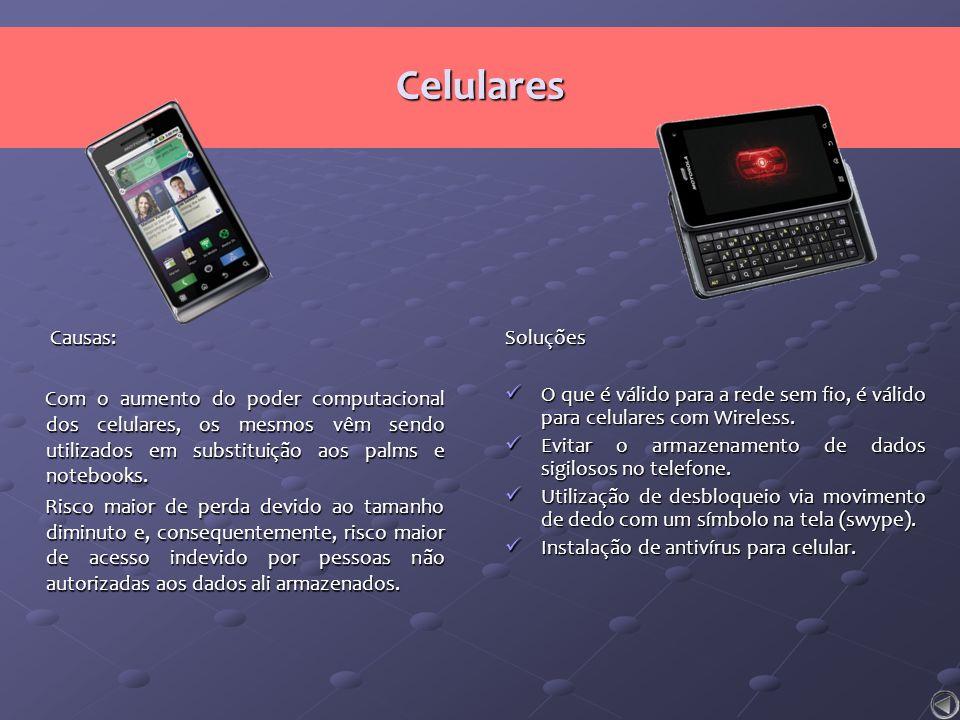 Celulares Causas: Com o aumento do poder computacional dos celulares, os mesmos vêm sendo utilizados em substituição aos palms e notebooks.