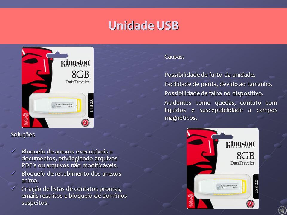 Unidade USB Causas: Possibilidade de furto da unidade.