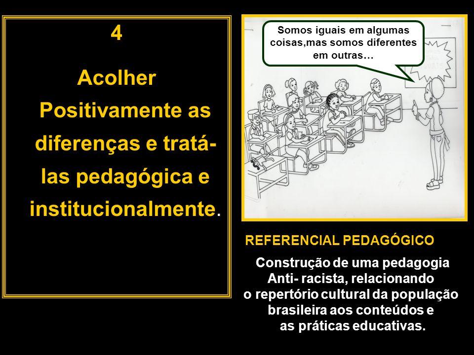 4 Acolher Positivamente as diferenças e tratá-las pedagógica e institucionalmente. Somos iguais em algumas coisas,mas somos diferentes em outras…