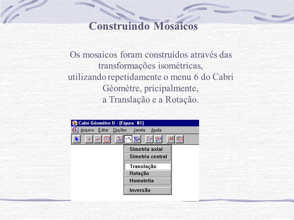 Os mosaicos foram construídos através das transformações isométricas, utilizando repetidamente o menu 6 do Cabri Géomètre, pricipalmente, a Translação e a Rotação.