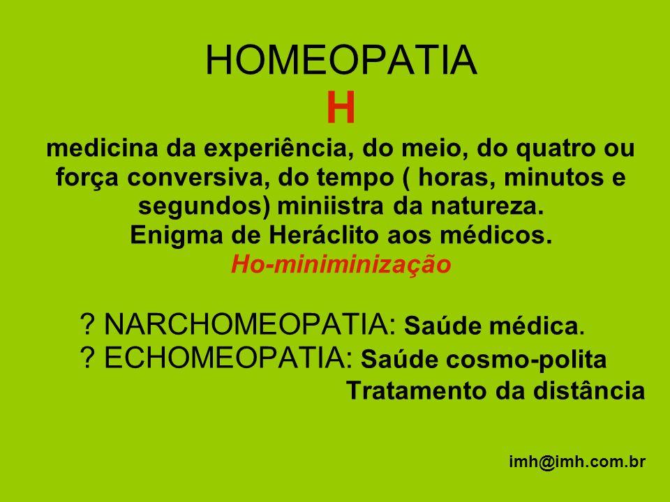 HOMEOPATIA H medicina da experiência, do meio, do quatro ou força conversiva, do tempo ( horas, minutos e segundos) miniistra da natureza. Enigma de Heráclito aos médicos. Ho-miniminização