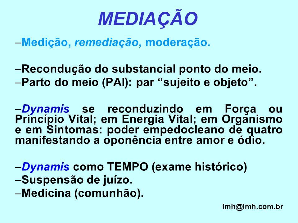 MEDIAÇÃO Medição, remediação, moderação.