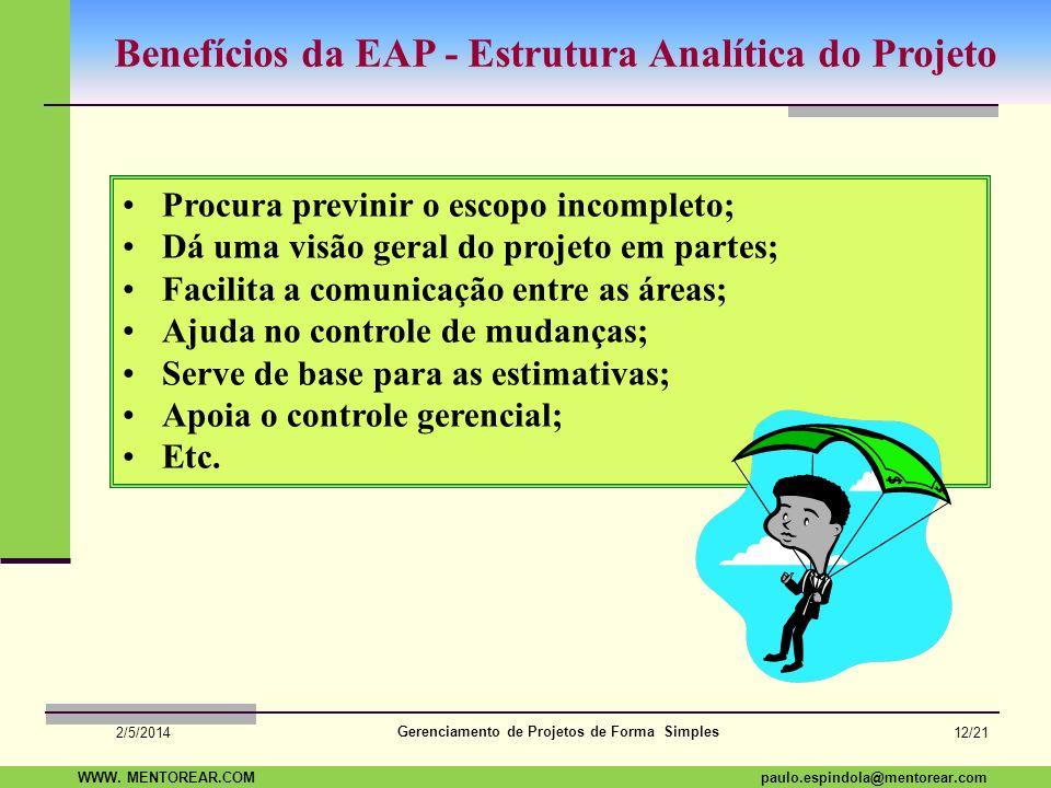 Benefícios da EAP - Estrutura Analítica do Projeto