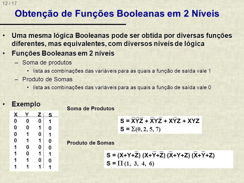 Obtenção de Funções Booleanas em 2 Níveis