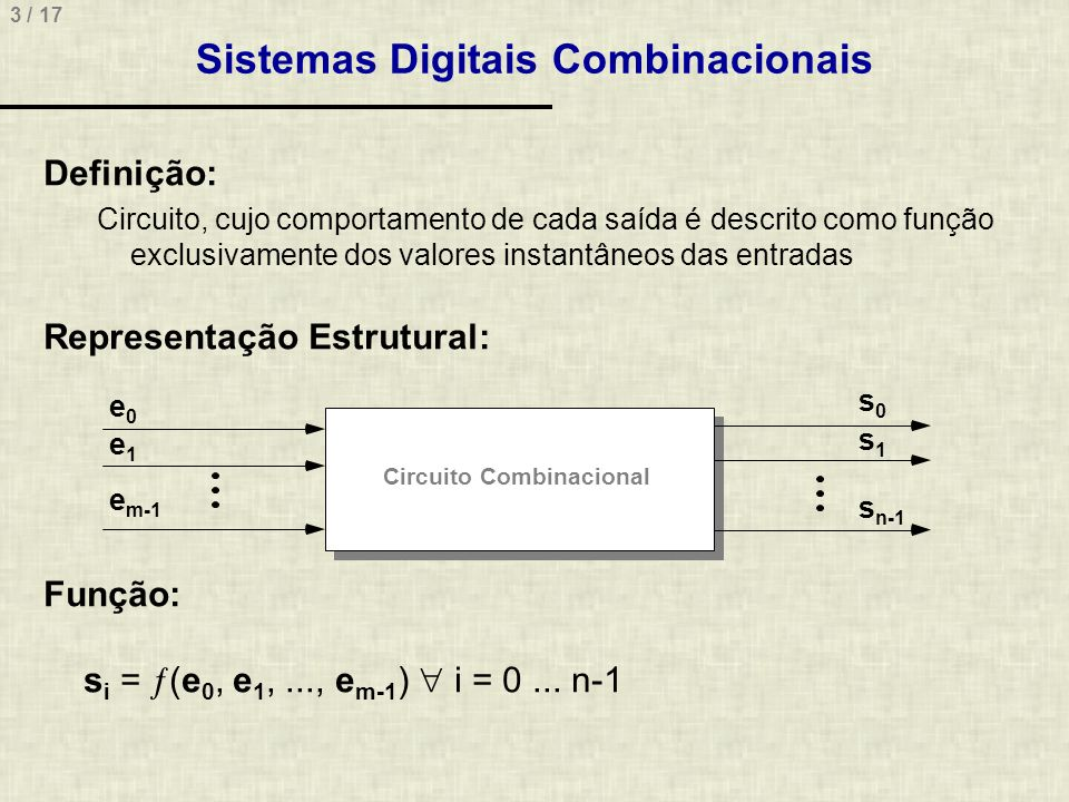 Sistemas Digitais Combinacionais