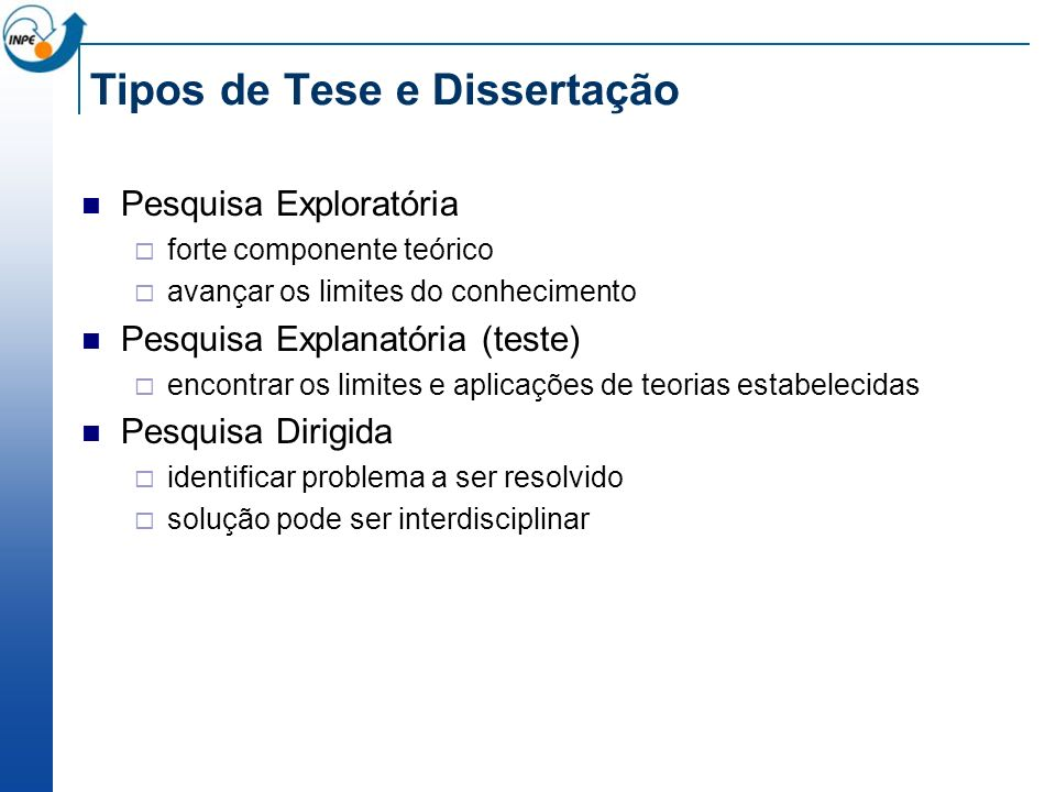 Tipos de Tese e Dissertação