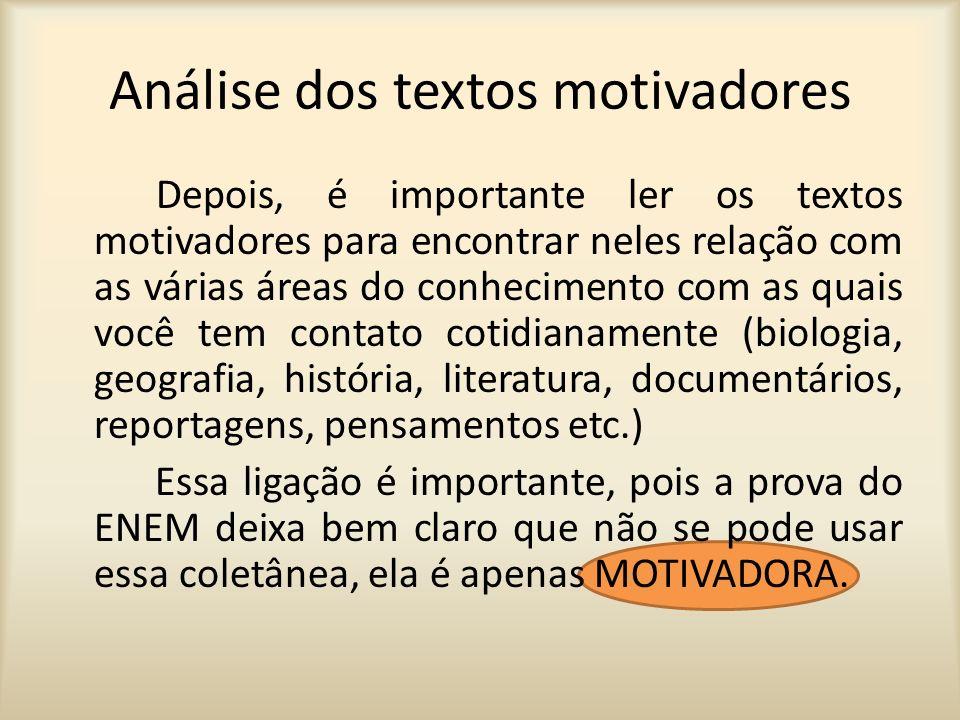 Análise dos textos motivadores